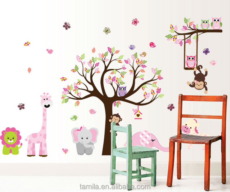 jungle forest animals zoo monkey tree wall sticker for kids baby nursery kindergarten wall sticker