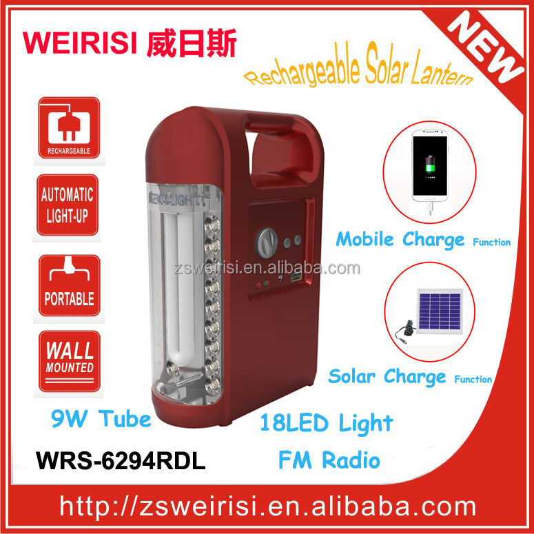 Rechargeable Solar Light with FM Radio & USB Mobile Charger (WRS-6294RDL)