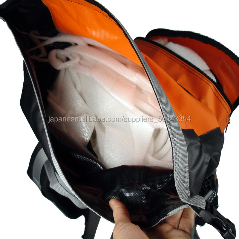Orange color waterproof backpack for camping hiking bag