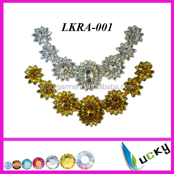 Hot Selling New Design Rhinestone applique for wedding dress brooch