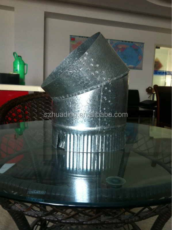 CE and galvanized chimney pipe single wall chimney 45 degree elbow for wood burning stove