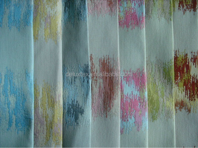 Classical textile design paint style polyester chenille jacquard woven fabric