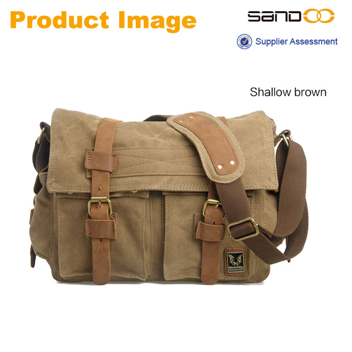 Mens Vintage School Military Shoulder Bag, Leather Canvas Messenger Bag