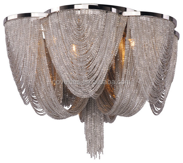 Aluminium Chrome chain suspension chandelier ceiling for Hotel Banquet Hall