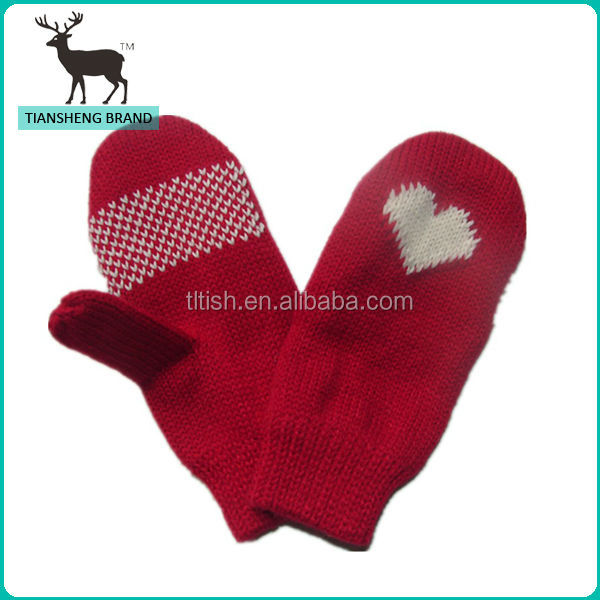 100% Acrylic kids jacquard knitted mittens glove