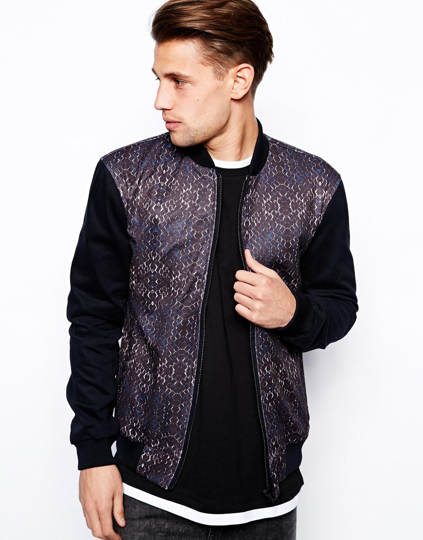 Front And Back Print Bomber Jacket Zip Men Clothing