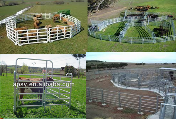 cheap metal tubular holding yards paddock fence rails used fence panel for livestock