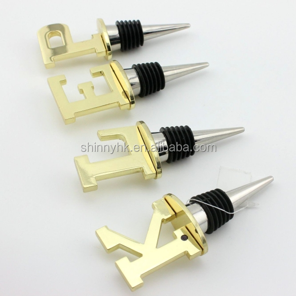 Metal letters design decorative wine bottle stoppers wholesale