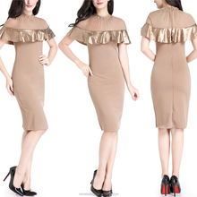 80126-MX11 High quality sexy ladies short dress in stock coffee color womens trendy clothing