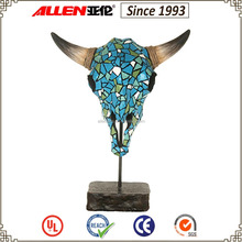 "16.3"" resin mosaic ox head with horn tabletop decoration"