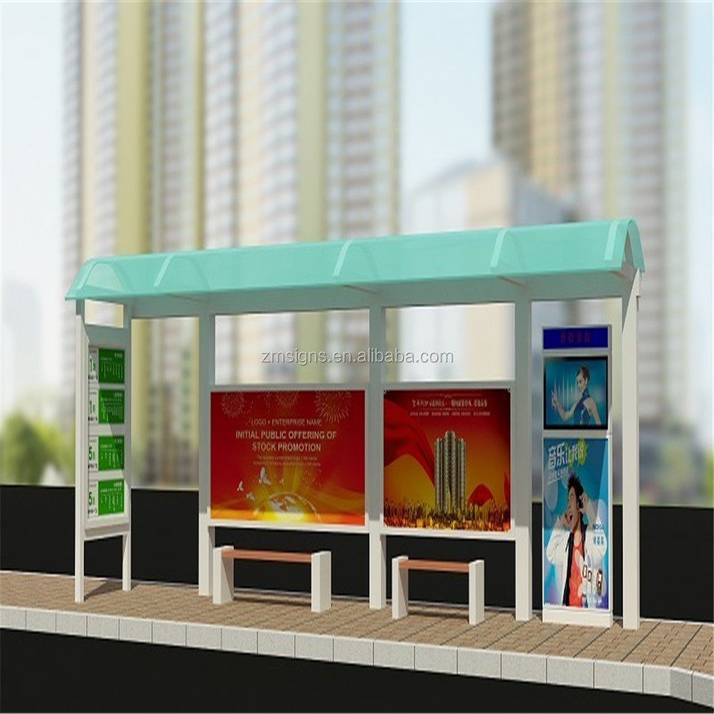 Popular solar powered metal bus stop station shelter with bench