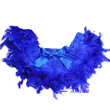 Newborn Baby Royal Blue Pettiskirt with Royal Blue Feather NB-6M