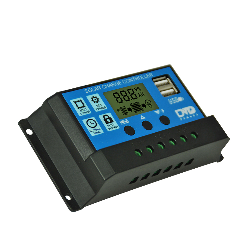 Manufacturer Wholesale 12V/24V Auto Solar Panel Battery Regulator Charge Controller 10A 20A 30A PWM LCD Display Dual USB