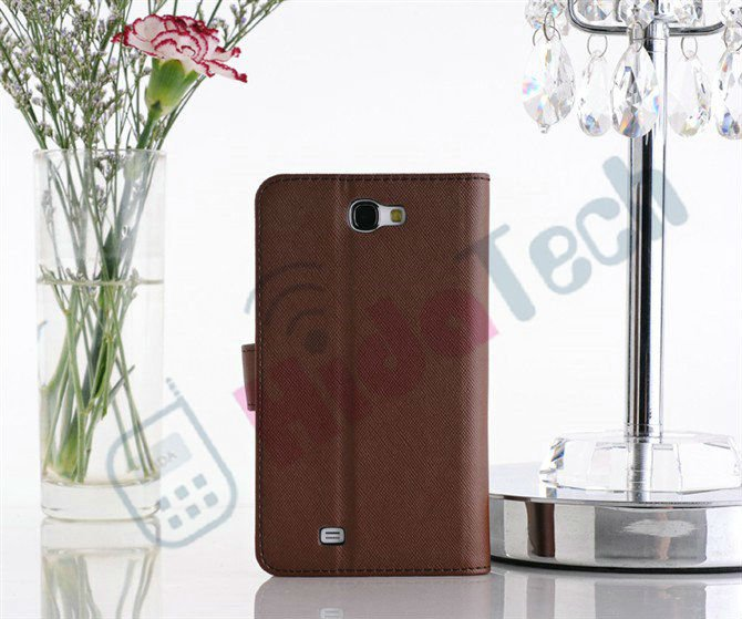 Cross Texture Leather Case for Samsung Galaxy Note2 N7100, Wallet Leather Case For Galaxy Note 2 N7100,Standing Design
