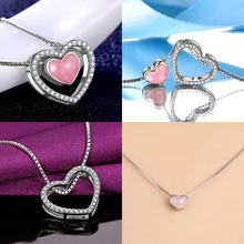 Free Shipping Different Wear Fashion Jewellery, Natural Pink Rose Crystal 925 Silver Pendant Necklace with 43cm Silver Box Chain