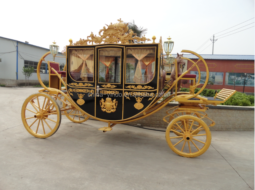 Yizhinuo Customized black royal horse drawn carriage exported horse wagon