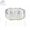 Real Princess Cut Diamond Luxury Thumb gold ring For Men Couple in White Gold Princess Jewel