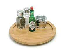 Wholesale round bamboo food serving tray with wheels