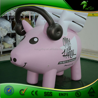 PINK Inflatable Pig With Flying Wings / Wearing Earphone Inflatable Animal Cartoon DJ Pig
