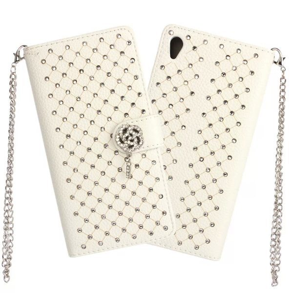 Diamond Bling Flower Magnet Flip Leather Case Cover for Sony Xperia Z4 Wallet Case with Chain