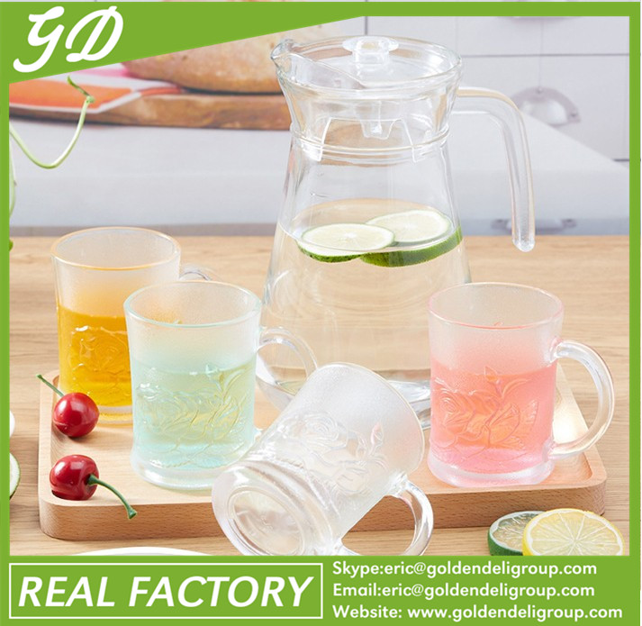 Wholesale Juice Glass Water Pitcher Drinking Jug Set , glass pitcher and cup set