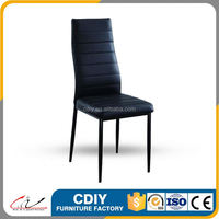 High back modern metal and leather dining chairs