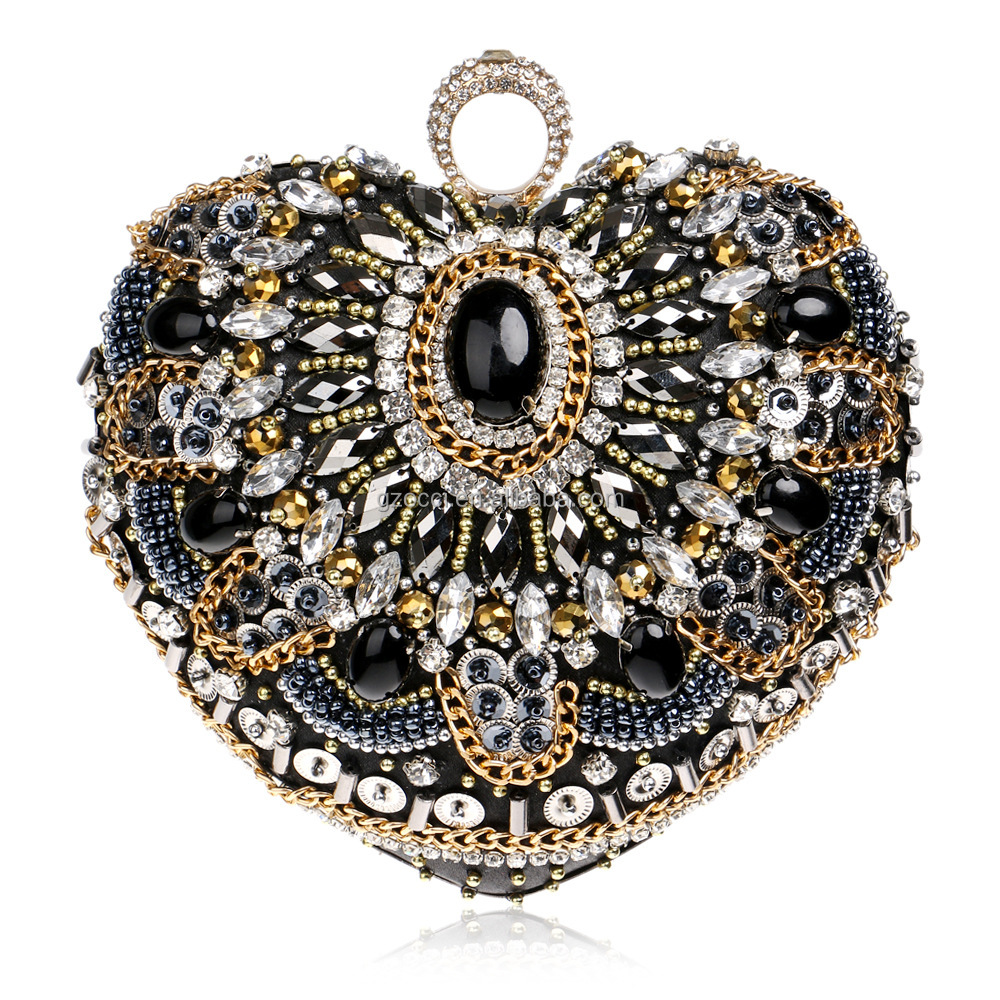 heart shape clutch bags black color rhinestone stone ladies party bags YM2497
