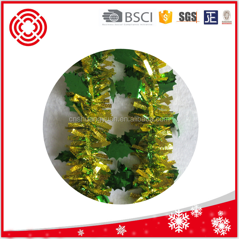 Handmade Hanging Decoration Artifical Wholesale PET Christmas Tinsel Garland