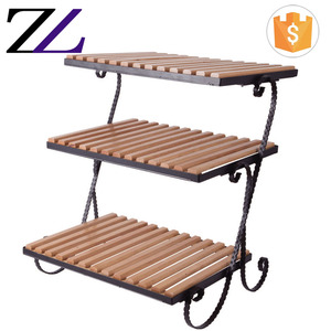 Indian restaurant supplies buffet decoration 3 tier serving food platter shelf wood buffet food bread display stand
