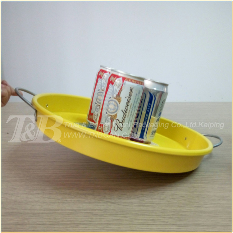 anti-slip round galvanized metal tray with handle for beer