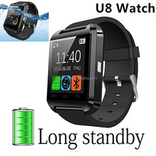 Black u8 Bluetooth Android Smart Mobile Phone U8 Wrist Watch sport water resistant bluetooth smart u8 watch