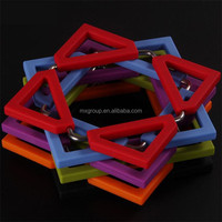 Hot sale food grade colorful square shape pot and bowl Heat insulation stainless steel silicone rubber folding trivet
