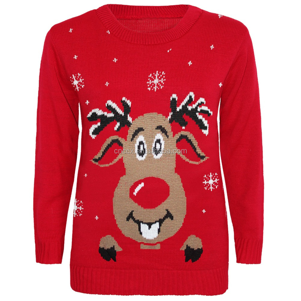 PK17ST136 reindeer kids christmas knitted jumper for 3-13 years