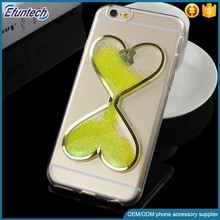 Girls use transparent fluorescence light heart liquid quick sand cell phone cover for iphone 7 plus cover case