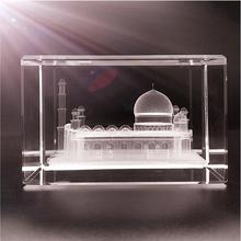 India Reigional Feature Taj Mahal Design 3d Laser Crystals Block Wholesale For Valentine Gift