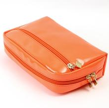 Colorful Small Pouch PVC Leather Cosmetic Bag With Handle and Zipper Closure