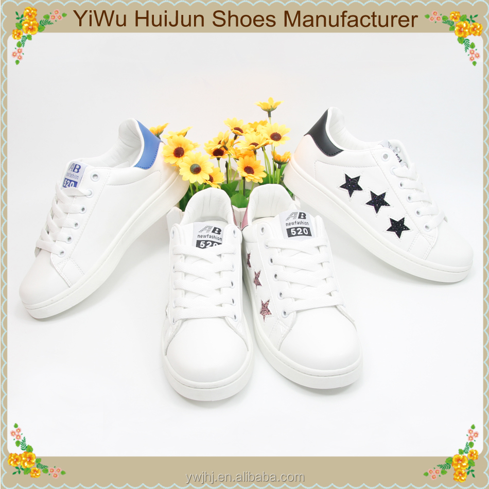 Plain white shoes sneakers wholesale women gold star shoes