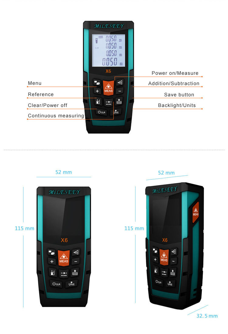 Electronic Distance Measuring Device : Shenzhen measuring device mileseey m optical power