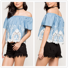 Embroidered top off shoulder crochet lace short sleeves lady blouse