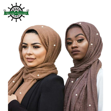 Fashion Wholesale Elegant Islamic Women Shawl Arabic Crinkle Pearl Muslim Chiffon scarf hijab