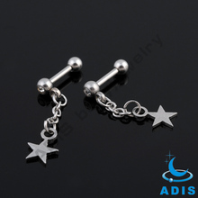 stainless steel ear tragus jeweled ball barbell piercing dangling star