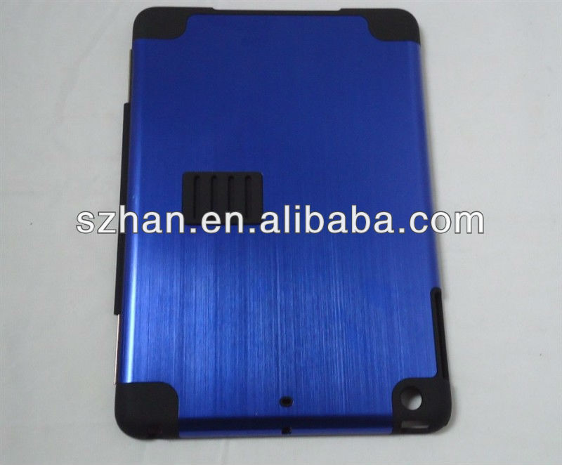 New Aluminum Metal Brushed Leather Case With Stand For Ipad mini