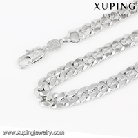 43191 Xuping fashion design simple white gold men chain necklace, men's gold necklace chain, new model necklace link chain