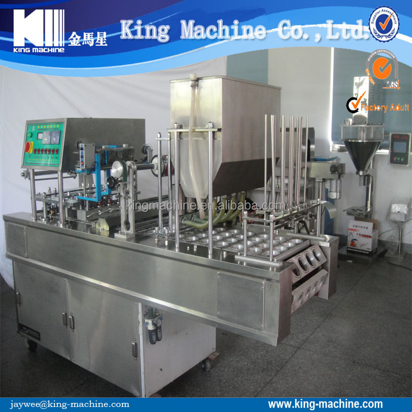 Automatic plastic cup pudding filling and sealing machine - with price / cost
