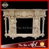 Western Pillar Marble Column Carved Fireplace Mantel