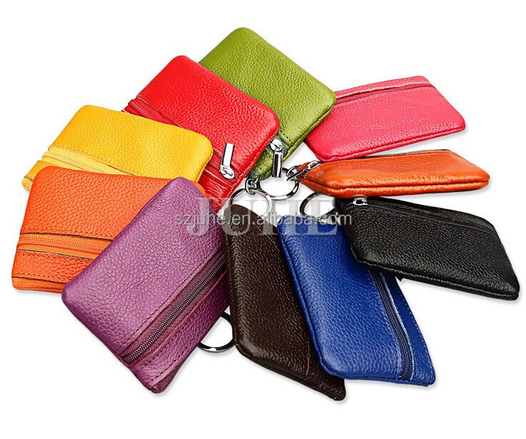 Customized logo Fashion genuine leather ladies zipper cow leather coin purse with key ring