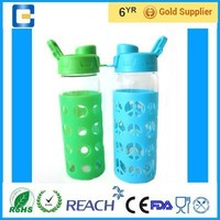 480ml&550ml&600ml&700ml borosilicate glass water bottle/glass water bottle with sleeve
