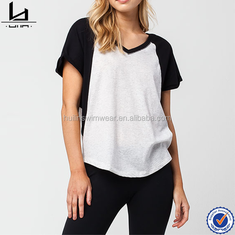 Polyester / cotton material and adults age group women baseball t shirt sublimation printing shirts t-shirt women