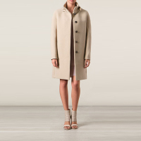 Beige wool blend funnel neck coat made in China online shopping 2014 winter ladies long coat design