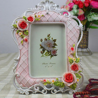 Ornament Crafts Beautiful Rose Flower Picture Photo Frame for Girls
